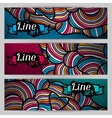 Banners with hand drawn waves line art vector image vector image
