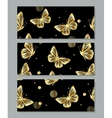 Set of three banners with gold butterflies vector image