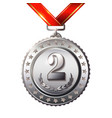 second place award medals set isolated on white vector image