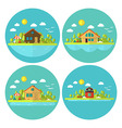 Wooden Cabin Holiday House Landscape Circle Flat vector image