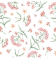 Watercolor seamless pattern with yarrow vector image