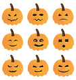 Halloween Pumpkins Collection vector image vector image