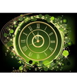 Gold Happy New Year background with clock vector image vector image