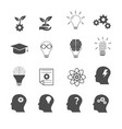 knowledge and creative thinking icons set vector image