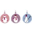 three decoration Christmas balls with snowmen vector image vector image
