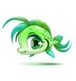 Cute cartoon little green girl fish vector image
