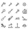thin line icons - carpentry vector image