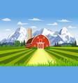 cartoon farm green seeding field vector image