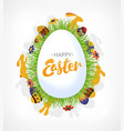 greeting easter card with rabbits flowers herbs vector image