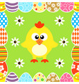 seamless easter background with funny chicken vector image