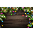 Wooden background with Christmas tree vector image