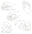 Hands with a computer mouse vector image