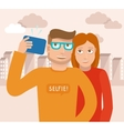 smiling man and woman vector image