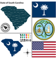 Map of South Carolina with seal vector image