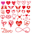 heart and love big set vector image vector image