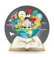 Open book infographic innovation idea on world vector image vector image