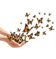 Hands releasing butterflies vector image