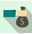 Hand holding money bag icon flat style vector image