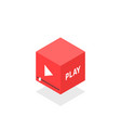 isometric red video player icon vector image
