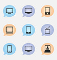 set of 9 editable gadget icons includes symbols vector image