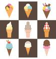 soft serve ice cream cone icon set vector image