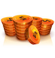 Stack of dollar coins for game ui vector image