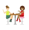 Girlfriends Chatting Sharing A Cake Smiling vector image