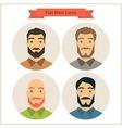 Flat Men Avatars Circle Icons Set vector image