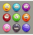 Cartoon comic round faces set vector image