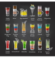Chalk drawings Set of shot cocktails menu design vector image
