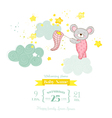 Baby Shower or Arrival Card - Baby Mouse Girl vector image vector image