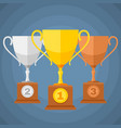 gold silver and bronze winners sports trophy cups vector image