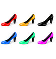high heel collection of colored women shoes vector image