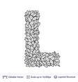 letter l symbol of white leaves vector image