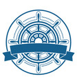 ship steering wheel emblem with banner vector image