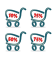 Shopping carts with discount percentage vector image