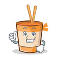 thumbs up cup noodles character cartoon vector image