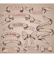 Vintage ribbon banners hand drawn set vector image