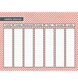 weekly planner stripe pink color vector image