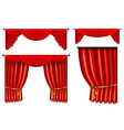 set of 3d red luxury silk curtain realistic vector image