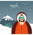 man winter sport with glasses jacket and mountains vector image