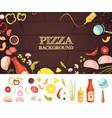 pizza cartoon style concept vector image vector image