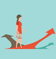Business woman standing on the arrow vector image