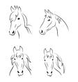 Set symbols outline head horse vector image