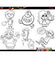 sweets and kids coloring page set vector image