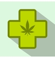Hemp leaf with cross icon flat style vector image