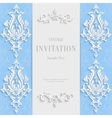 Blue Christmas Vintage Invitation Card with vector image