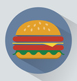 Cheeseburger with ham and salad leaves icon vector image