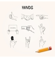Doodle Hand movements hand drawn icons vector image