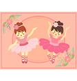 Duo Cute Pink Ballerina Girl vector image
